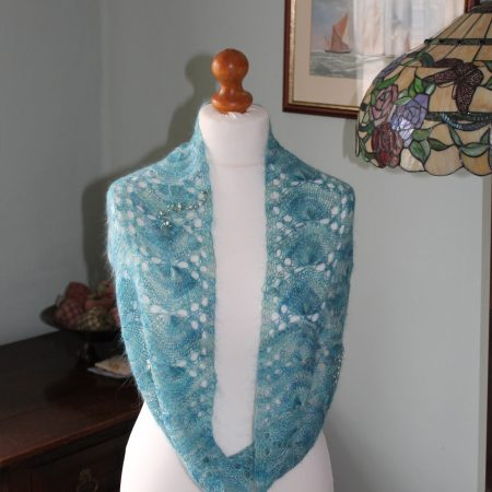 mermaid infinity scarf feb 2015 001 2016 03 29 14 01 25 UTC 450x450 - The Lace Knittery Mermaid Scarf PDF knitting pattern