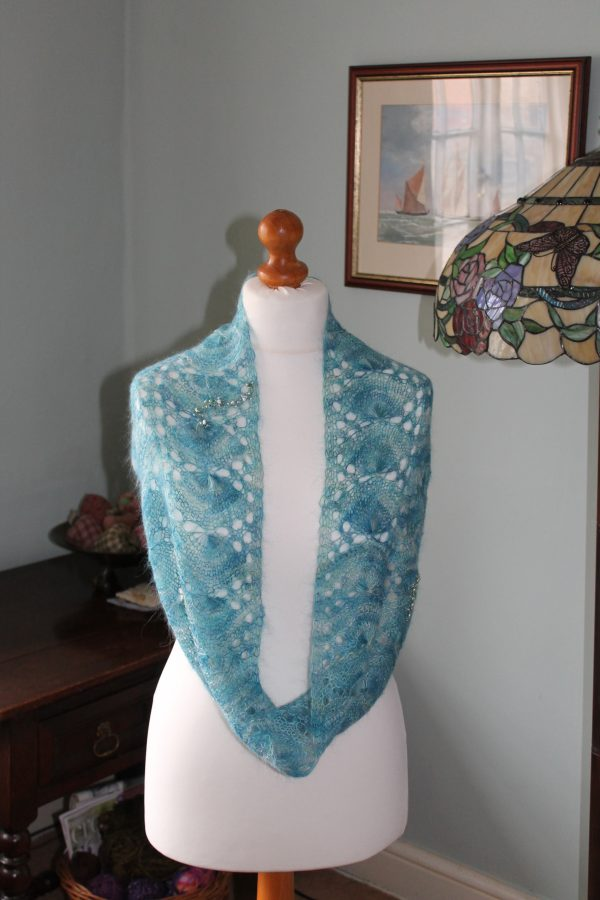 mermaid infinity scarf feb 2015 001 2016 03 29 14 01 25 UTC 600x900 - The Lace Knittery Mermaid Scarf PDF knitting pattern