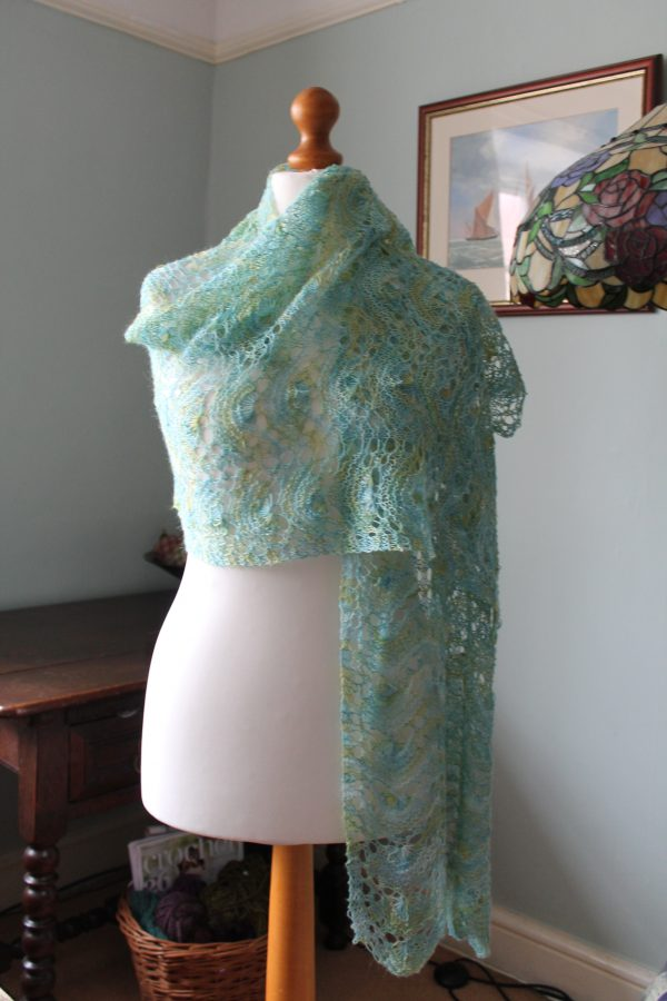 seashore wrap June 2015 003 2016 03 29 14 01 25 UTC 600x900 - The Lace Knittery Mermaid Wrap PDF knitting pattern download