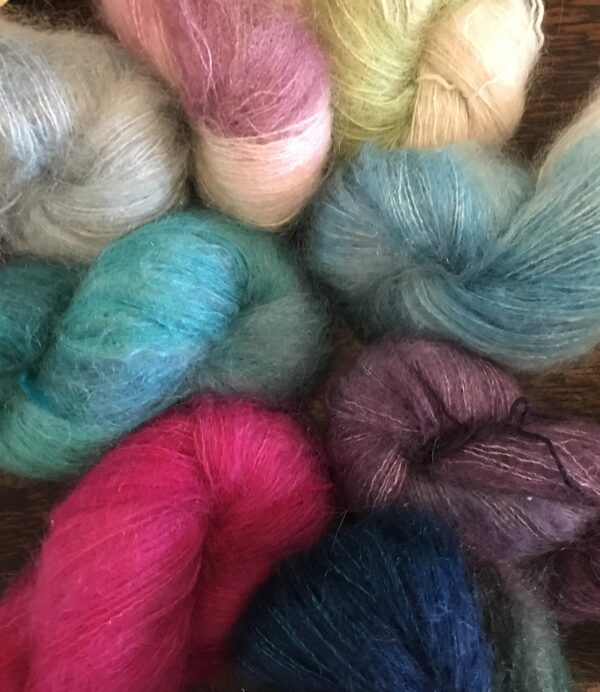 E87F35FA 7295 46BF 845C AAD5ED7A0E08 600x692 - The Lace Knittery hand painted kid mohair and silk yarn